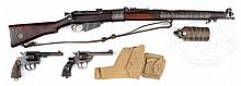 COLLECTOR'S LOT OF 3 BRITISH MILITARY WEAPONS, 1 COLT NEW SERVICE .455 ELEY REVOLVER, 1 ENFIELD NO. 2 MK I 1935 .38 REVOLVER, AND 1 1907 SHTLE I .303 RIFLE AND CUP GRENADE LAUNCHER.