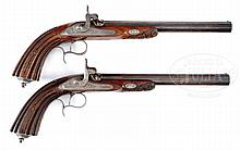 PAIR OF FINE TARGET PISTOLS BY MOUTIER LEPAGE.