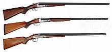 TRIO OF CLASSIC AMERICAN SIDE BY SIDE SHOTGUNS INCLUDING A L.C. SMITH FIELD GRADE 20 GAUGE, PARKER VH 20 GAUGE, AND A PARKER VH 12 GAUGE.