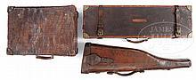 TWO ANTIQUE SHOTGUN CASES AND ANTIQUE CROCODILE SUITCASE.
