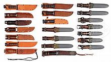 COLLECTOR'S LOT OF 21 FINE US WWII MILITARY FIGHTING KNIVES.