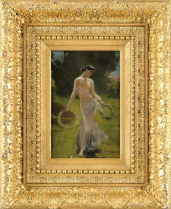 ALBERT VON KELLER (Swiss, 1844-1920) SPRINGTIME NUDE