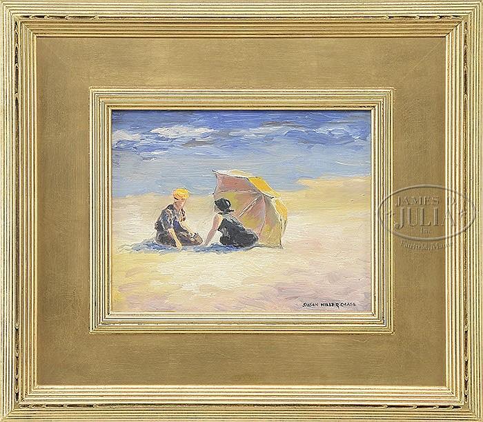 SUSAN MILLER CHASE (American, 20th century) UNDER THE BEACH UMBRELLA
