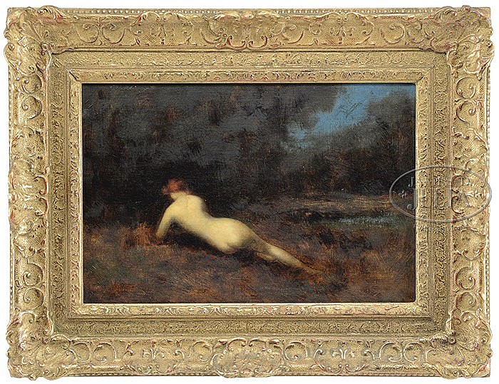 JEAN JACQUES HENNER (French, 1829-1905) RECLINING NUDE IN LANDSCAPE