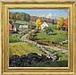 DONALD ALLEN MOSHER (American, 1945- ) FARM IN SUNLIT LANDSCAPE