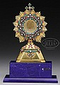 RUSSIAN ORTHODOX SILVER, GOLD & GEMSTONE MONSTRANCE.
