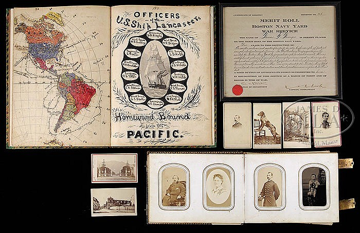 EPHEMERA LOT, CIVIL WAR ERA U.S.S.S. LANCASTER JOURNAL, PHOTO ALBUM AND CERTIFICATE.