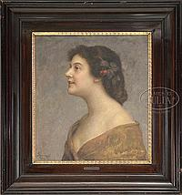 IGNAZ FRANKEL INGOMAR (Hungarian, 1838-1924) PORTRAIT OF A YOUNG WOMAN