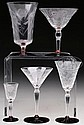 FINE SET OF 139 PIECES OF CUT CLEAR STEMWARE WITH CRANBERRY BASES.