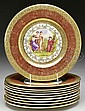 SET OF TEN ROYAL CHINA SERVICE PLATES WITH ANGELICA KAUFFMAN SCENES.