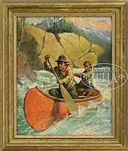 ATTRIBUTED TO PHILIP GOODWIN (American, 1881-1935) SCOUTS NEGOTIATING THE RAPIDS
