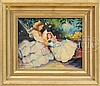 SUSAN MILLER CHASE (American, 20th century) MOTHER AND DAUGHTER RELAXING IN THE GARDEN, Susan Miller Chase, Click for value