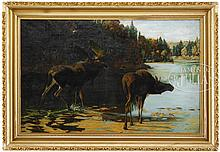 ATTRIBUTED TO PHILIP RUSSELL GOODWIN (American, 1882-1935) MOOSE IN MAINE LANDSCAPE