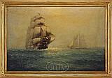 JAMES J. MCAULIFFE (American, 1848-1921) SHIPS AT SEA.