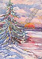 YULIY YULEVICH KLEVER II (Russian, 1882-1942) WINTER SUNSET., Julij Jul'evič (1882) Klever, Click for value