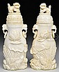 PAIR OF IVORY COVERED JARS.
