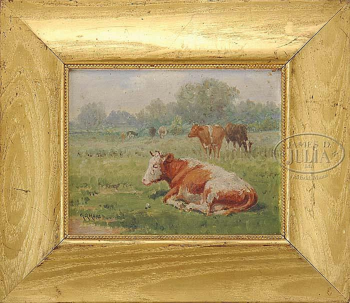GEORGE ARTHUR HAYS (American, 1854-1945) FIVE WORKS: COWS IN LANDSCAPES.