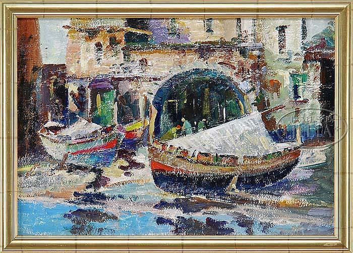 JOHN CHETCUTI (American, 1900-1976) CITY BOATYARD.