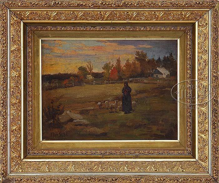 ELMER BOYD SMITH (American, 1860-1943) TENDING THE FLOCK.