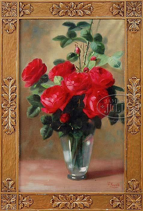 FREDERICK M. FENETTI (American, 1854-1915) RED ROSES.