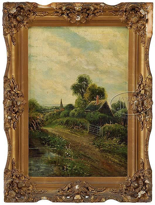 E. COLE (19TH/20TH CENTURY) PAIR OF ENGLISH COTTAGE LANDSCAPES.