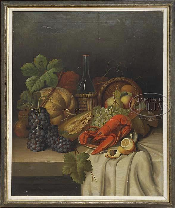 JOSEPH CORREGGIO (German/Italian, 1810-1891) STILL LIFE WITH FRUIT, WINE, & LOBSTER.