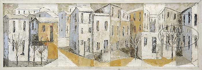 RICHARD KIDWELL MILLER (American, 1930-) ROW HOUSES.