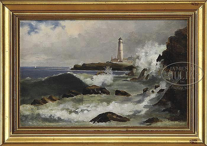 FRANK LOUVILLE BOWIE (American, 1857-1936) MAINE COASTAL LIGHTHOUSE.