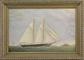 """JAMES GARDINER BABBIDGE (American, 1844-1919) PORTRAIT OF THE COASTAL SCHOONER """"COMMERCE""""."""