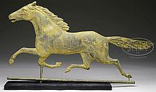 FULL BODIED COPPER RUNNING HORSE WEATHERVANE.
