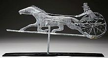 FOLK ART HORSE AND SULKY WEATHERVANE ATTRIBUTED TO A.E. JEWELL.