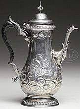 REPOUSSE DECORATED LONDON STERLING TEAPOT, 1772.