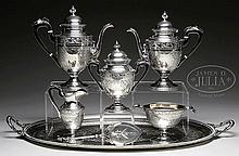 FIVE PIECE STERLING TEA AND COFFEE SET WITH SILVER PLATED TRAY AND MATCHING STERLING PIE SERVER MARKED