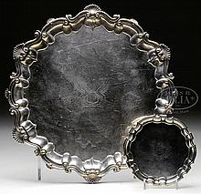 TWO CONTINENTAL SILVER SALVERS.