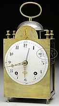 FRENCH BRASS CAPUCINE TRAVEL CLOCK.