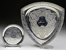 TIFFANY & COMPANY MAKER'S STERLING SILVER CARD TRAY AND COASTER.