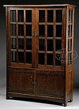 L & JG STICKLEY DOUBLE DOOR CHINA CABINET.