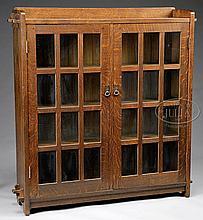 L & JG STICKLEY DOUBLE DOOR BOOKCASE.