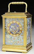 FRENCH CLOISONNE CARRIAGE CLOCK.