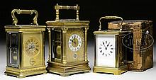 THREE FRENCH CARRIAGE CLOCKS.