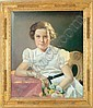VIVIAN MILNER AKERS (American, 1886-1966) PORTRAIT OF A YOUNG GIRL WITH FLOWERS (AKERS CARVED FRAME), Vivian Milner Akers, Click for value