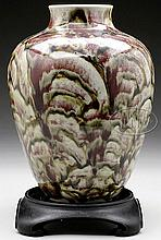 PORCELAIN BALUSTER VASE, DRIP GLAZE WITH STAND.