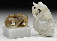 TWO JADE CARVINGS.