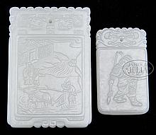 TWO JADE PLAQUES.