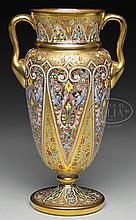 MOSER DECORATED VASE.
