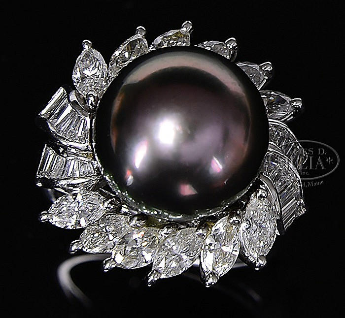 LADY'S PLATINUM, DIAMOND & PEARL RING.