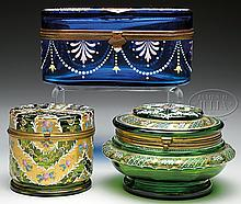 THREE MOSER DECORATED BOXES.