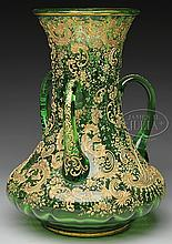 MOSER DECORATED HANDLED VASE.