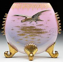 MOSER DECORATED HAWK VASE.