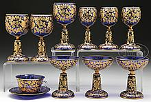 TEN PIECES OF MOSER DECORATED TABLEWARE.